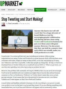 Stop Tweeting and Start Making!