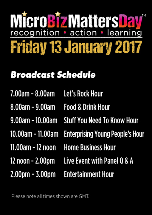 Schedule for #MicroBizMattersDay 2017